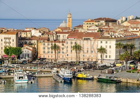 Ajaccio France - May 27 2016: View of the center of capital city of Corsica and birthplace of Napoleon Bonaparte with its marina Fishing Port and water front.