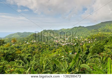 The island of Grenada is the largest island in the Grenadines - panoramic view