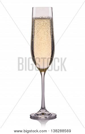 Glass of champagne with bubbles isolated on a white background.
