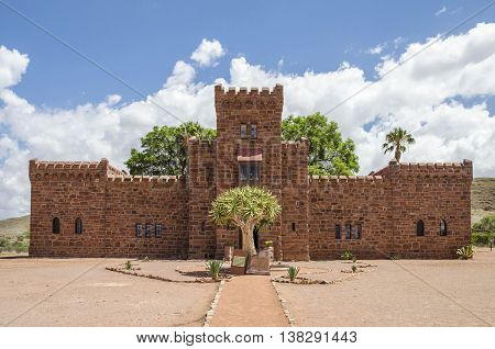 Namib region Namibia - January 23 2016: Duwisib castle pseudo-medieval looking fortress build by baron von Wolf in German West Africa.Today a museum guesthouse and National Monument of Namibia.