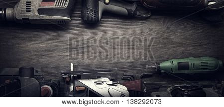 Electric hand tools (screwdriver Drill Saw jigsaw jointer) photo processing.