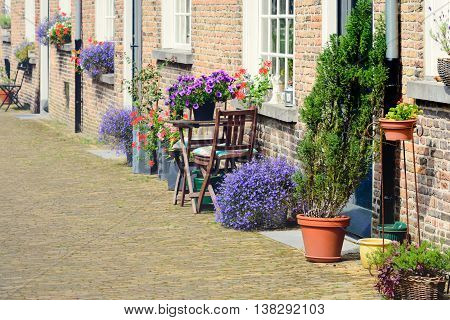 Colorful flowers before historic facades of the Begijnhof in the Dutch city of Breda.
