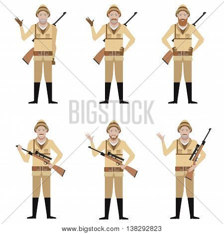 Vector image of the Set of Safari Hunters