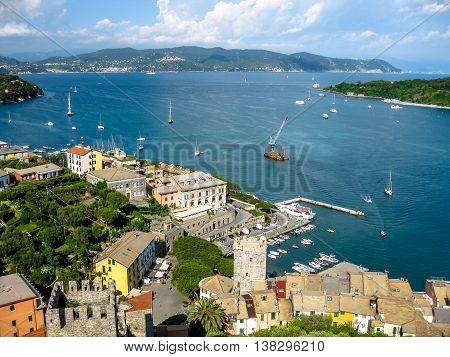 Beautiful aerial view of Gulf of Poets in Porto Venere village, Cinque Terre Unesco Heritage, La Spezia province, Italy.