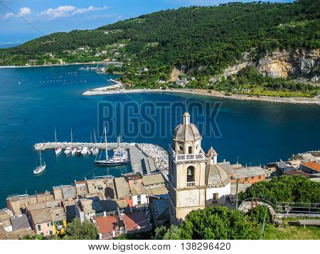 Panoramic view of the romanesque church of St. Lawrence at Portovenere in Cinque Terre, La Spezia, Italy.