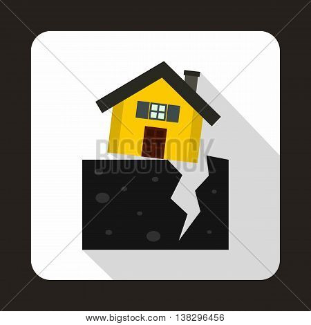 House after an earthquake icon in flat style on a white background