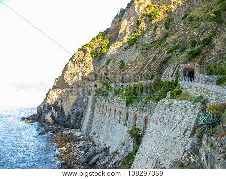 Way of love in Cinque Terre National Park, Ligurian Coast, La Spezia, Italy.