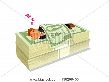 Cartoon businessman in suit sleeping or napping on pack or pile of cash or money. Concept of successful stock investment or passive income, rich and wealth, financial freedom.