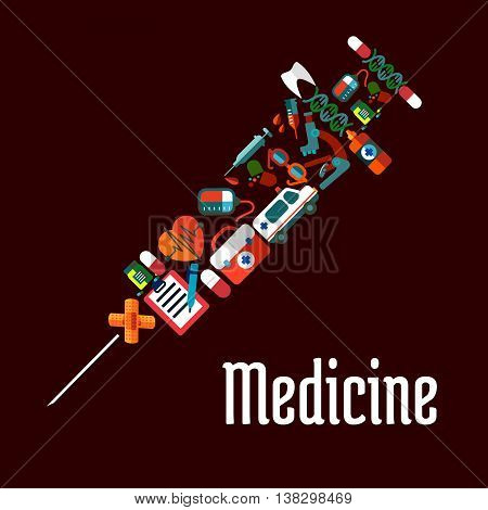 Healthcare or medicine icons in syringe shaped form with needle for injection. Tablet and pill, heart and pulse, tooth, and sphygmomanometer, stethoscope and ambulance, thermometer and flask