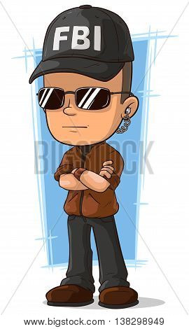 A vector illustration of cartoon cool secret agent with earphone