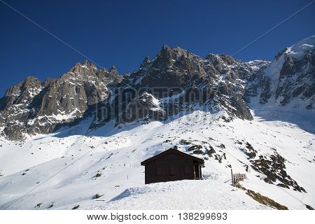 Grand Jorasses and freeriders, extreme ski, Aiguille du Midi, French Alps