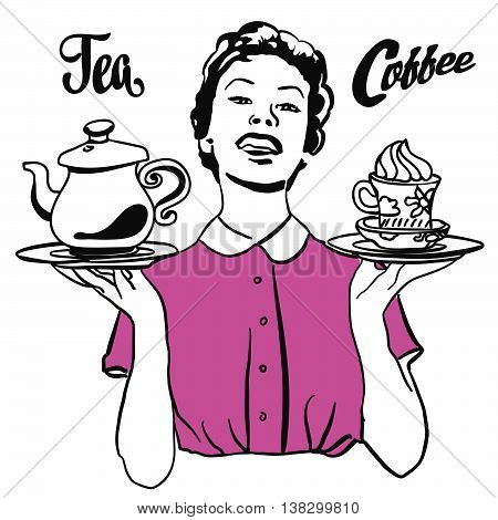 Vintage Waitress Presents Coffee And Tea