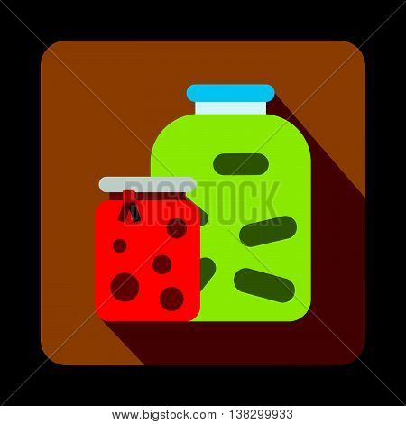 Jars with pickled vegetables and jam icon in flat style on a coffee background