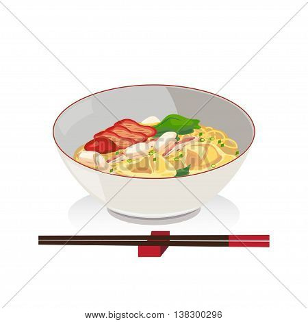 Noodle and wanton with crab and barbecued red pork in a bowl with chopsticks.