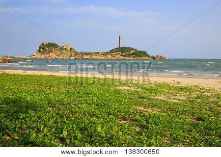 Ke ga lighthouse in Phan Thiet region, Vietnam. View from the shore