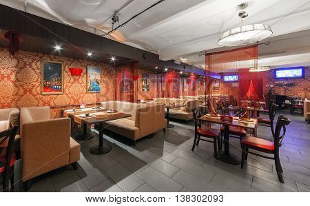 MOSCOW/RUSSIA - DECEMBER 2014. Interior Indian modern art cafe