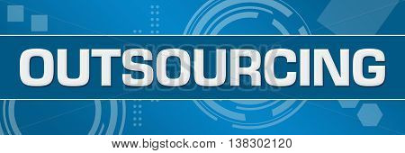 Outsourcing text written over abstract blue background.