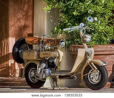 Porto Cervo, Italy - June 29, 2016: Lambretta vintage sprint motor scooter motorbike motorcycle
