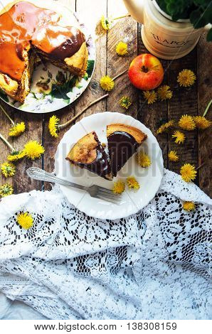 Traditional Homemade Chocolate Cake. Rustic Style And Natural Li