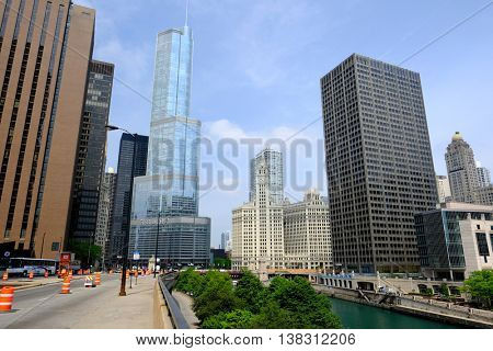 CHICAGO, IL - MAY 25: The Trump International Hotel and Tower,  May 25 2016 in Chicago, Illinois, USA