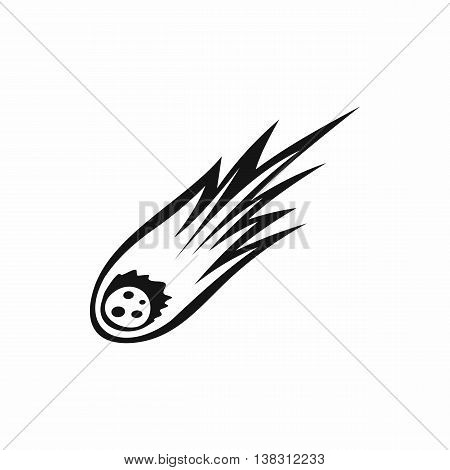 Falling meteor with long tail icon in simple style isolated vector illustration