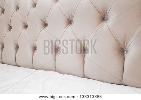 Soft Pink Headboard And White Bedding