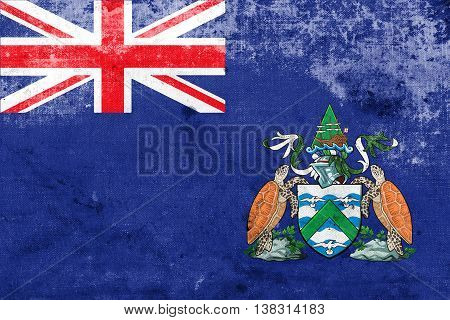 Flag Of Ascension Island, Canada, With A Vintage And Old Look