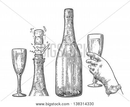Bottle of Champagne explosion and hand hold glass. Vintage vector engraving illustration for web poster invitation to beer party. Hand drawn design element isolated on white background.