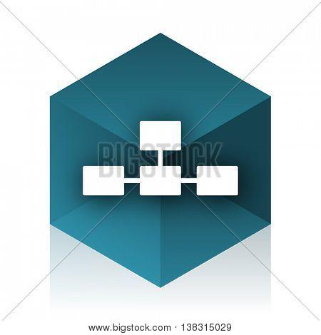 database blue cube icon, modern design web element