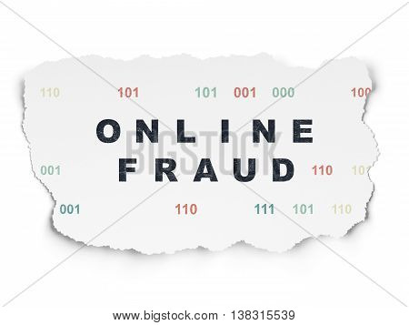 Protection concept: Painted black text Online Fraud on Torn Paper background with  Binary Code