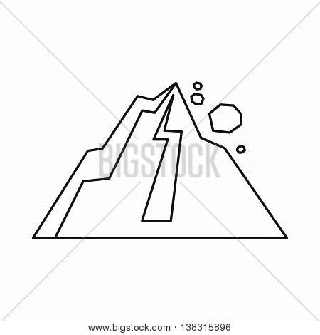 Rockfall icon in outline style isolated vector illustration