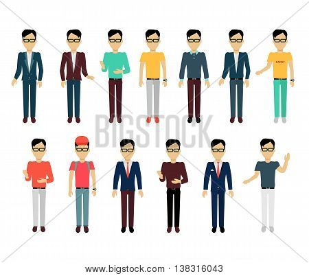 Set of male character without face in different clothing and poses vector. Flat design. Man template personages illustration for concepts, mobile app pictogram, logos, infographic. Isolated on white.