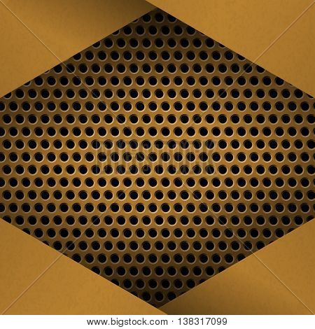 Metal Background with plate and rivets. Perforated metallic grunge texture. Brushed Brass copper latticed surface template. Abstract industrial techno vector illustration.