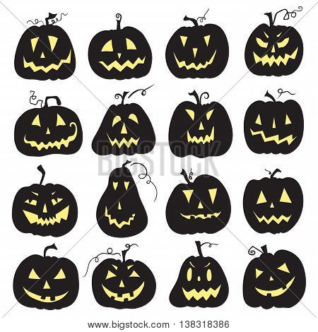 Set of a scary halloween pumpkin.  White backdrop. Pumpkins designs with different facial expressions. Sixteen pumpkins.