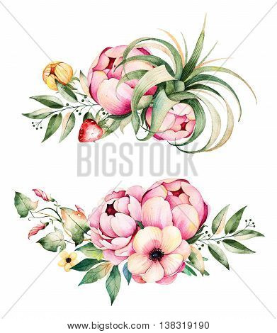 Colorful floral collection with flower, peonies, leaves,f ield bindweed, branches, lupin, air plant, strawberry and more.
