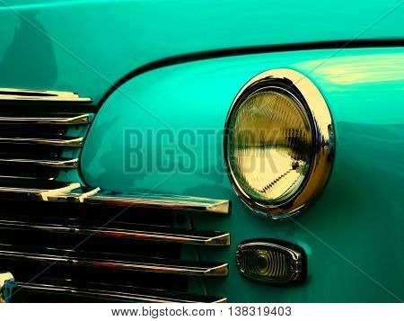 Old retro car on exhibition 40s 50s 60s vintage style time generation rarity