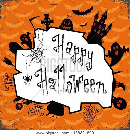 Happy halloween card. Design template, with pumpkin, bat, spider and text happy halloween. Vector illustration. Orange backdrop with flying barts