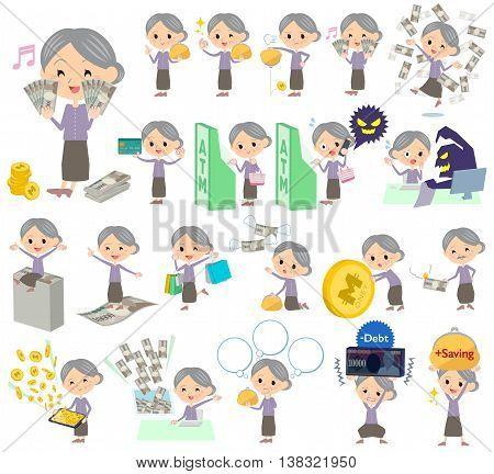 Purple Clothes Grandmother Money