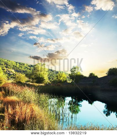 Picturesque rural landscapes on lake