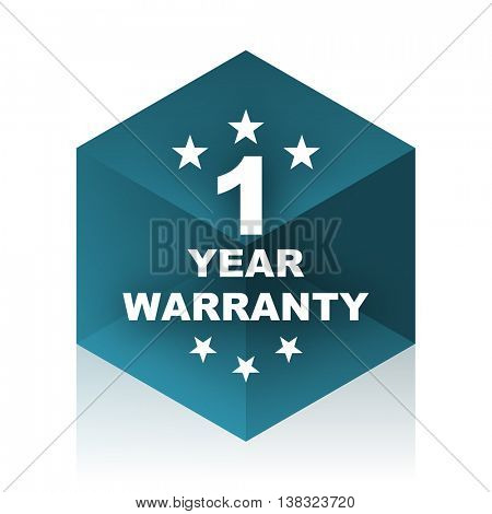 warranty guarantee 1 year blue cube icon, modern design web element