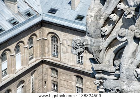 paris big panorama from montmatre church gorgoyle detail