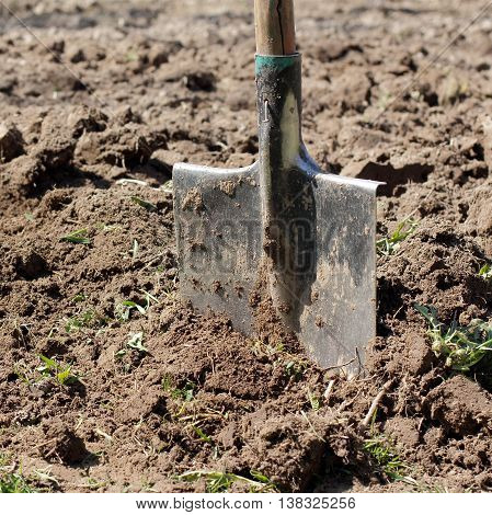 earthmoving tool sticking in the ground dug