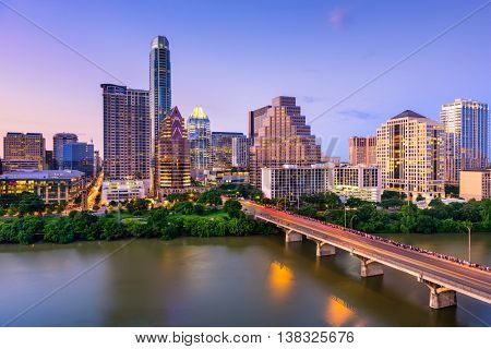 Austin, Texas, USA downtown skyline on the Colorado River.