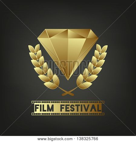 Golden Jewel. Sign - Film Festival. Camera film 35 mm roll gold, festival movie poster. Black background. Olive Wreath. Vector illustration.