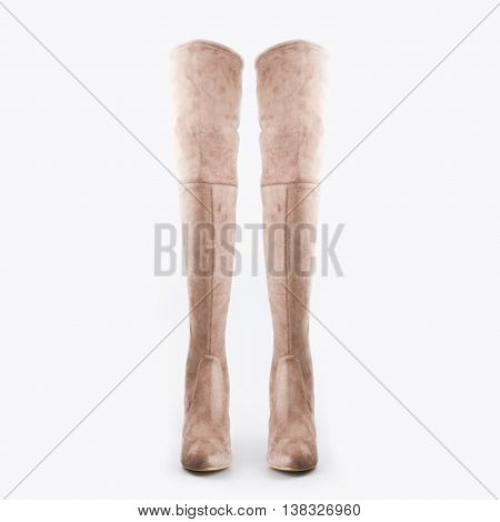 High Beige Boots On A White Background
