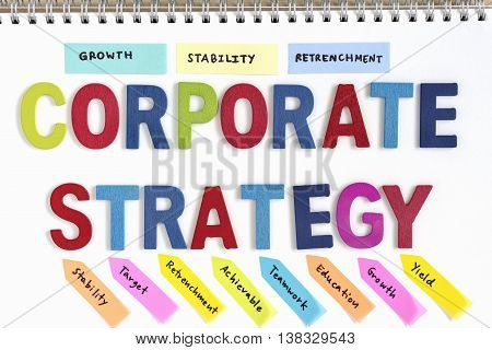 wood letters word corporate strategy with hand writing growth stability retrenchment and definition on notebook top view business success concept
