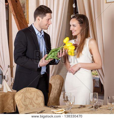 Man Giving Tulips His Girfriend