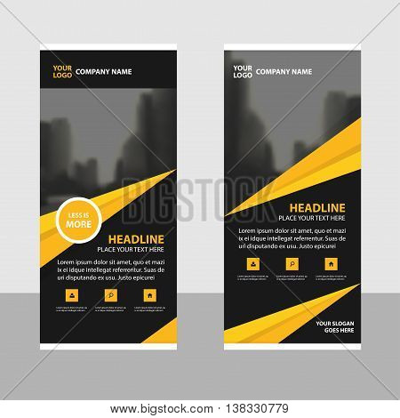 Yellow black triangle roll up business brochure flyer banner design cover presentation abstract geometric background modern publication x-banner and flag-banner layout in rectangle size.