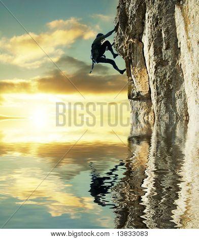 girl climbing on the rock