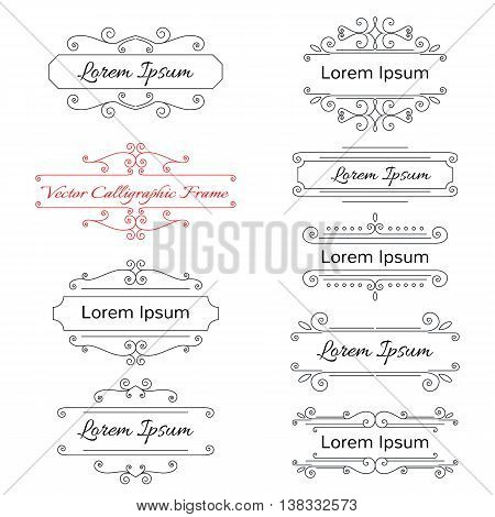 collection of elegant frames isolated on white background